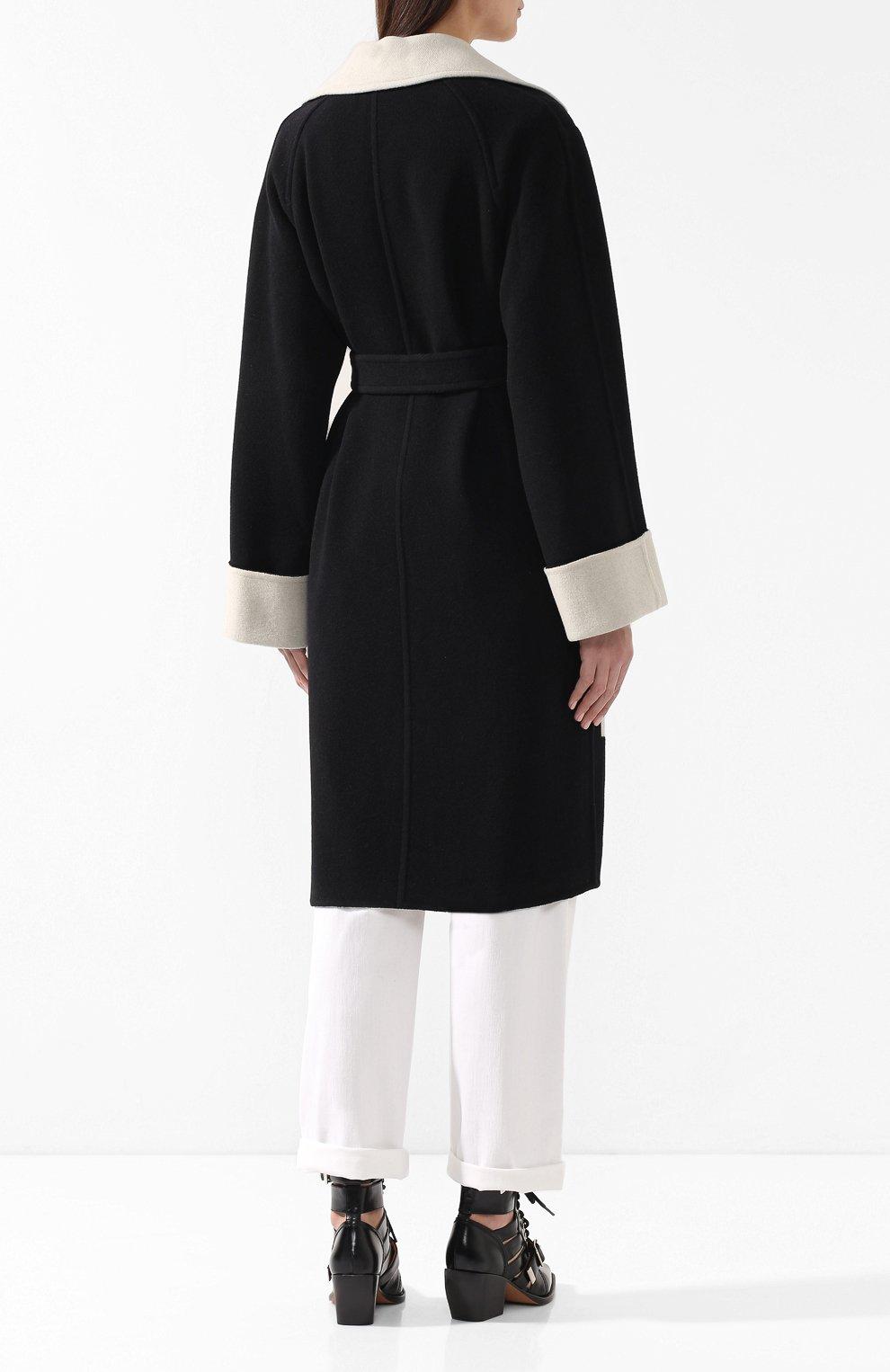 Шерстяное пальто Helmut Lang черно-белого цвета   Фото №4