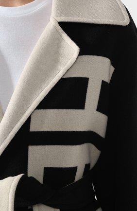 Шерстяное пальто Helmut Lang черно-белого цвета   Фото №5