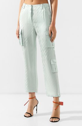 Женские брюки с накладными карманами OFF-WHITE зеленого цвета, арт. 0WCF004R19C860574100 | Фото 3