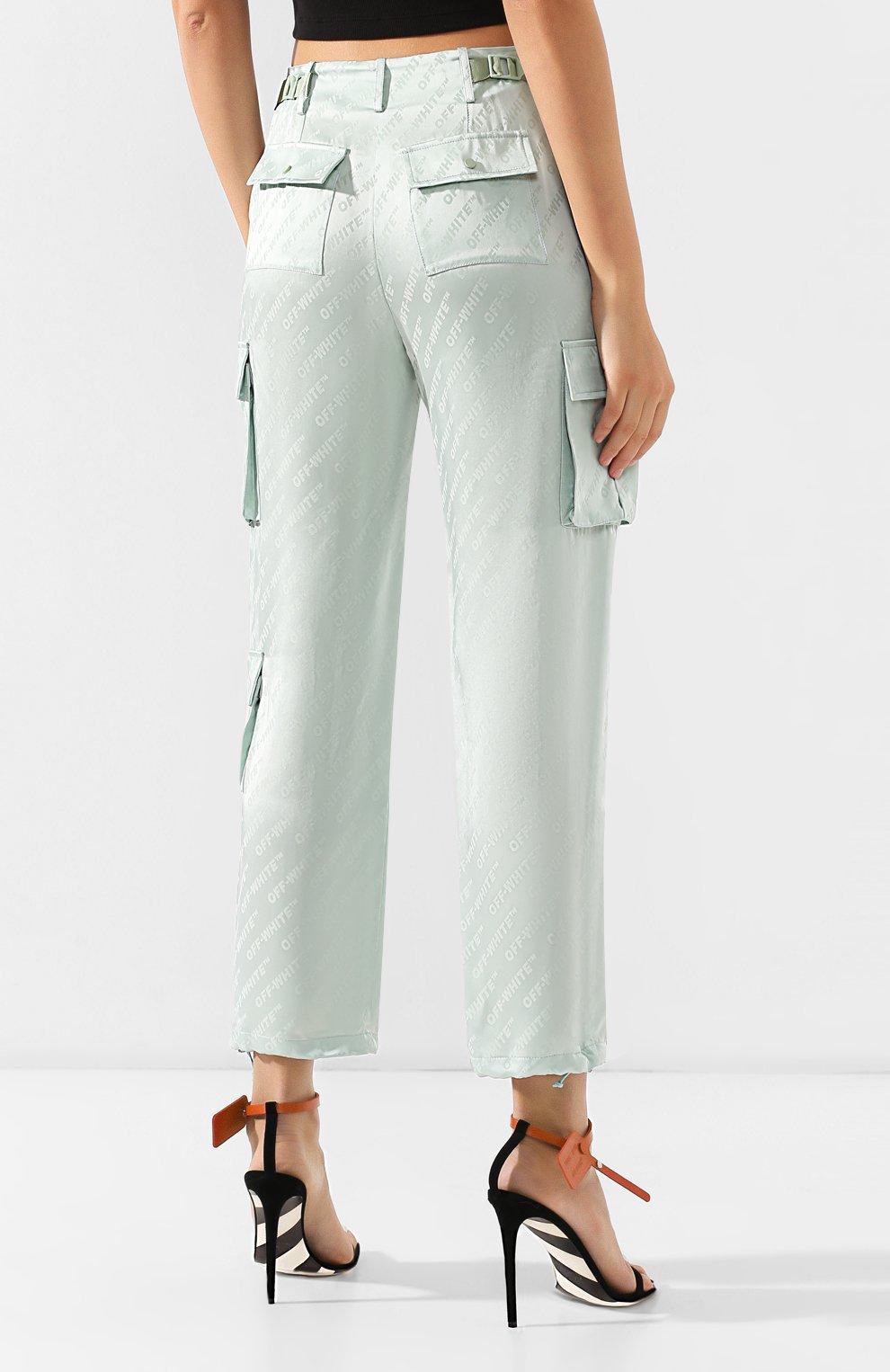 Женские брюки с накладными карманами OFF-WHITE зеленого цвета, арт. 0WCF004R19C860574100 | Фото 4