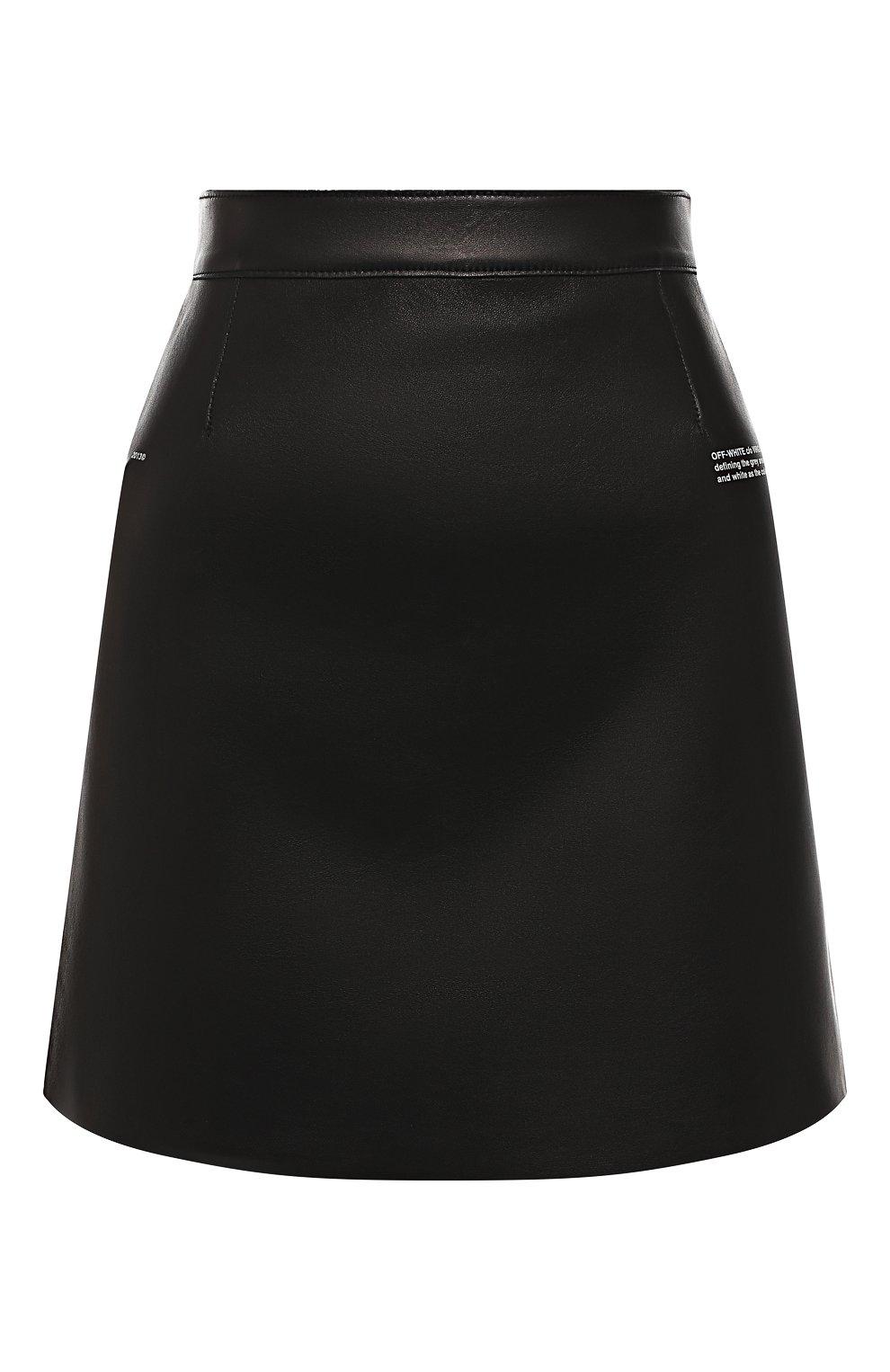 Кожаная юбка Off-White черная | Фото №1