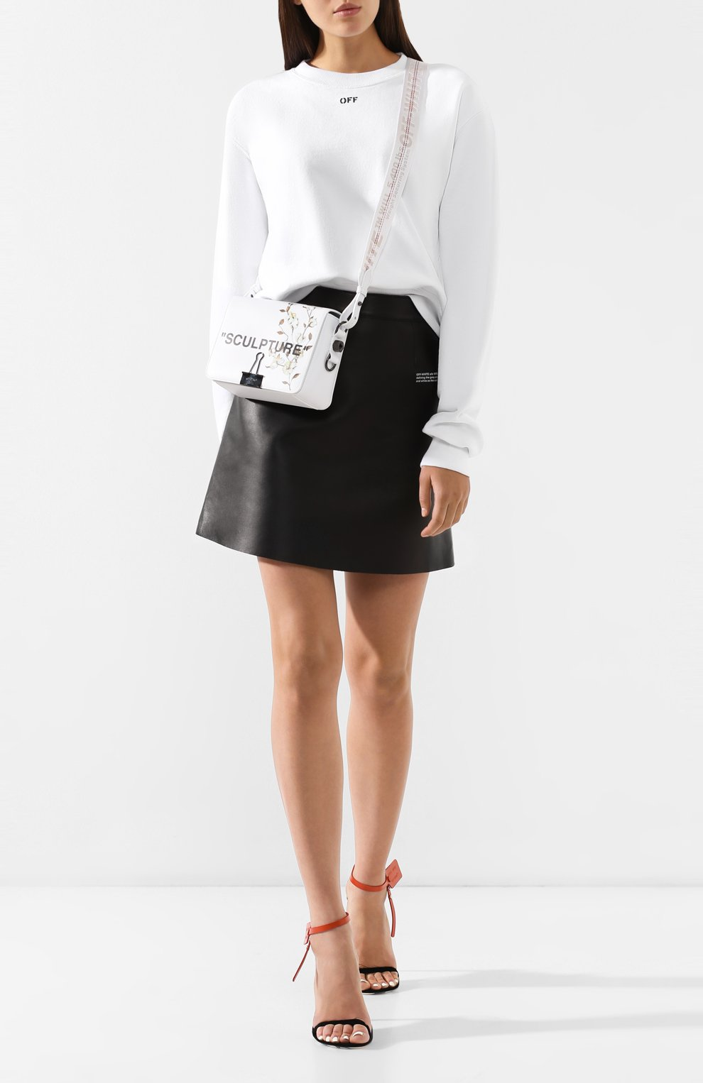 Кожаная юбка Off-White черная | Фото №2