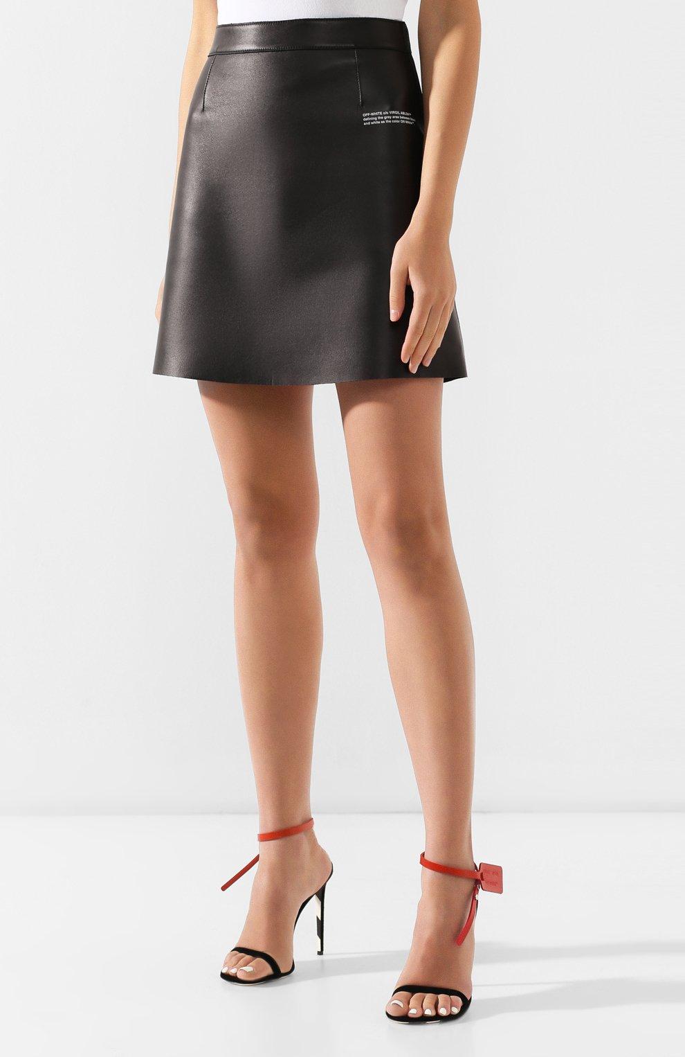 Кожаная юбка Off-White черная | Фото №3