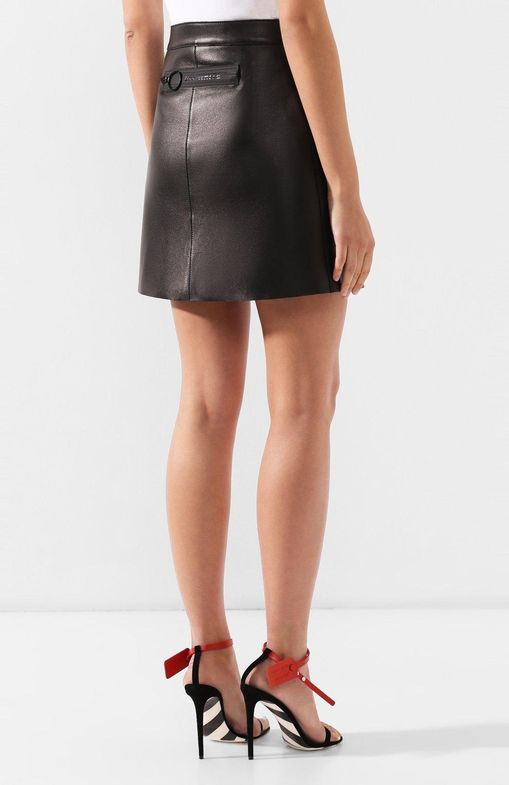 Кожаная юбка Off-White черная | Фото №4