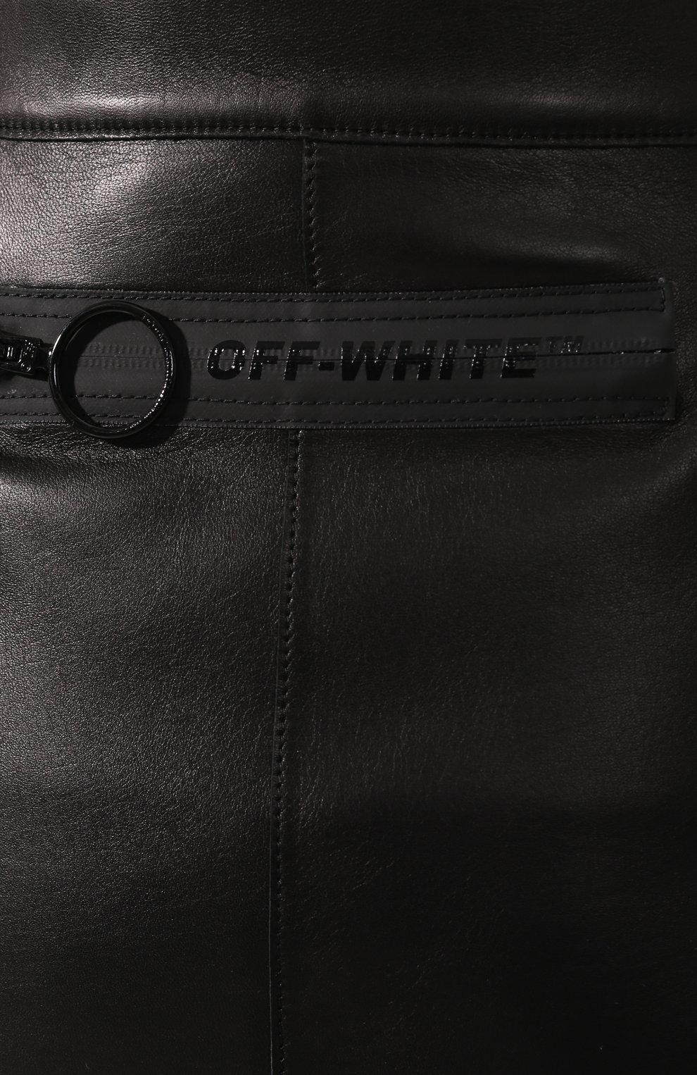 Кожаная юбка Off-White черная | Фото №5