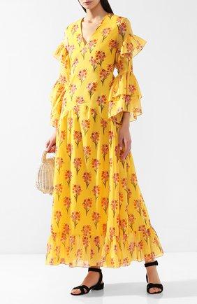 Женское хлопковое платье BORGO DE NOR желтого цвета, арт. L0NG LUNA/B0UQUET | Фото 2