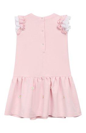 Женский хлопковое платье MONNALISA розового цвета, арт. 393904AM | Фото 2
