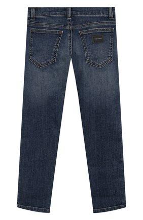Детские джинсы прямого кроя DOLCE & GABBANA темно-синего цвета, арт. L41F96/LD725/2-6   Фото 2