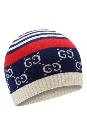 Детского хлопковая шапка GUCCI синего цвета, арт. 556638/4K111 | Фото 1