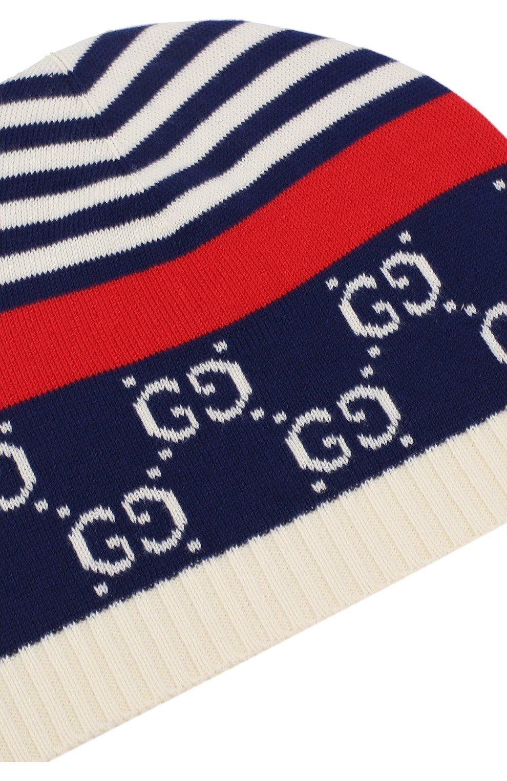 Детского хлопковая шапка GUCCI синего цвета, арт. 556638/4K111 | Фото 3