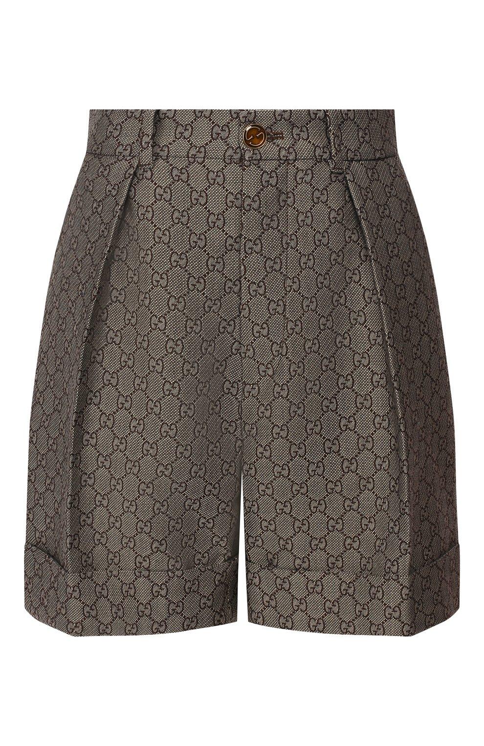 Шорты из смеси хлопка и шерсти Gucci коричневые | Фото №1