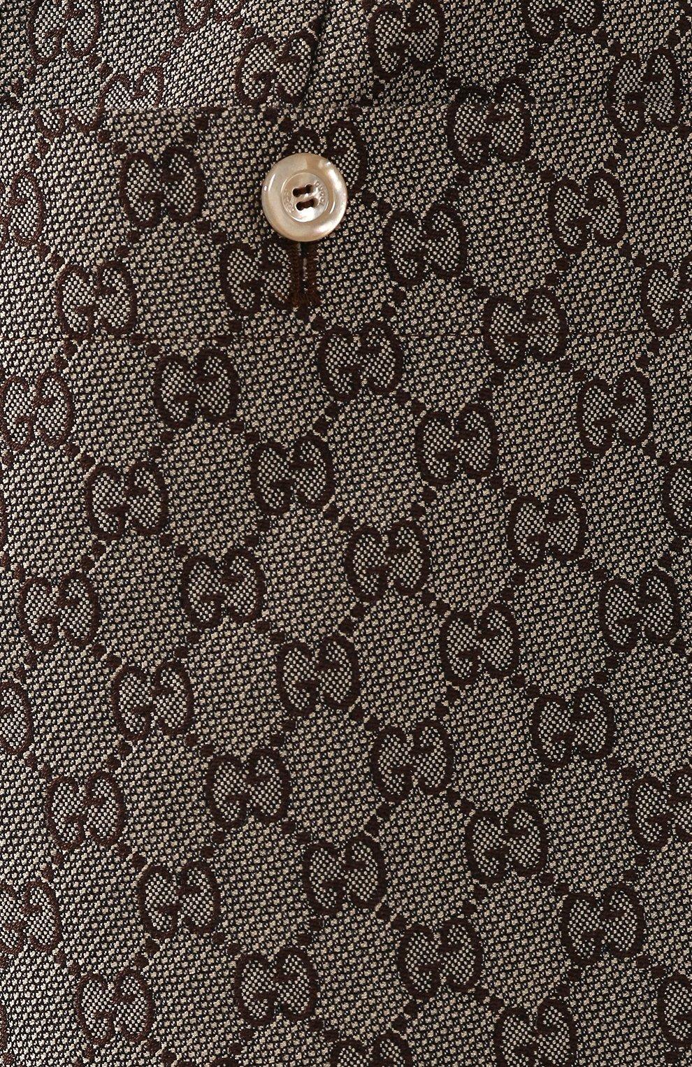 Шорты из смеси хлопка и шерсти Gucci коричневые | Фото №5