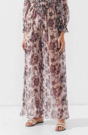 Женские бежевые шелковые брюки Zimmermann