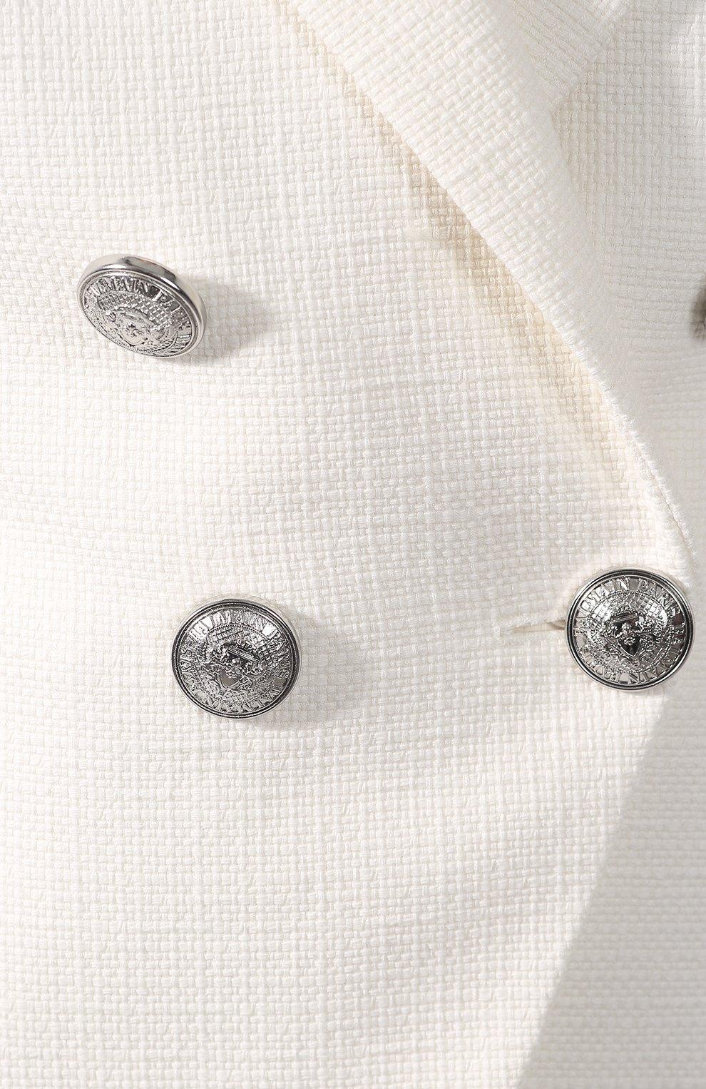 Двубортный жакет Balmain белый | Фото №5