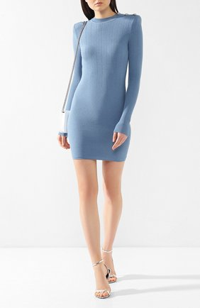 Платье из вискозы Balmain голубое | Фото №2