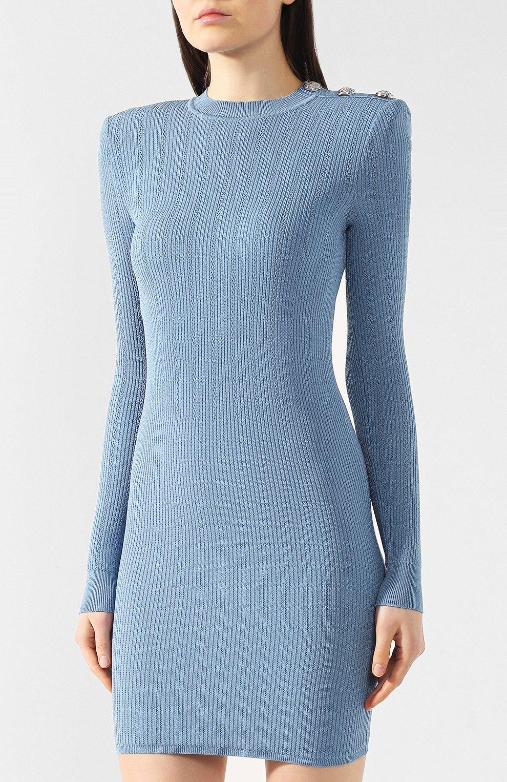 Платье из вискозы Balmain голубое | Фото №3