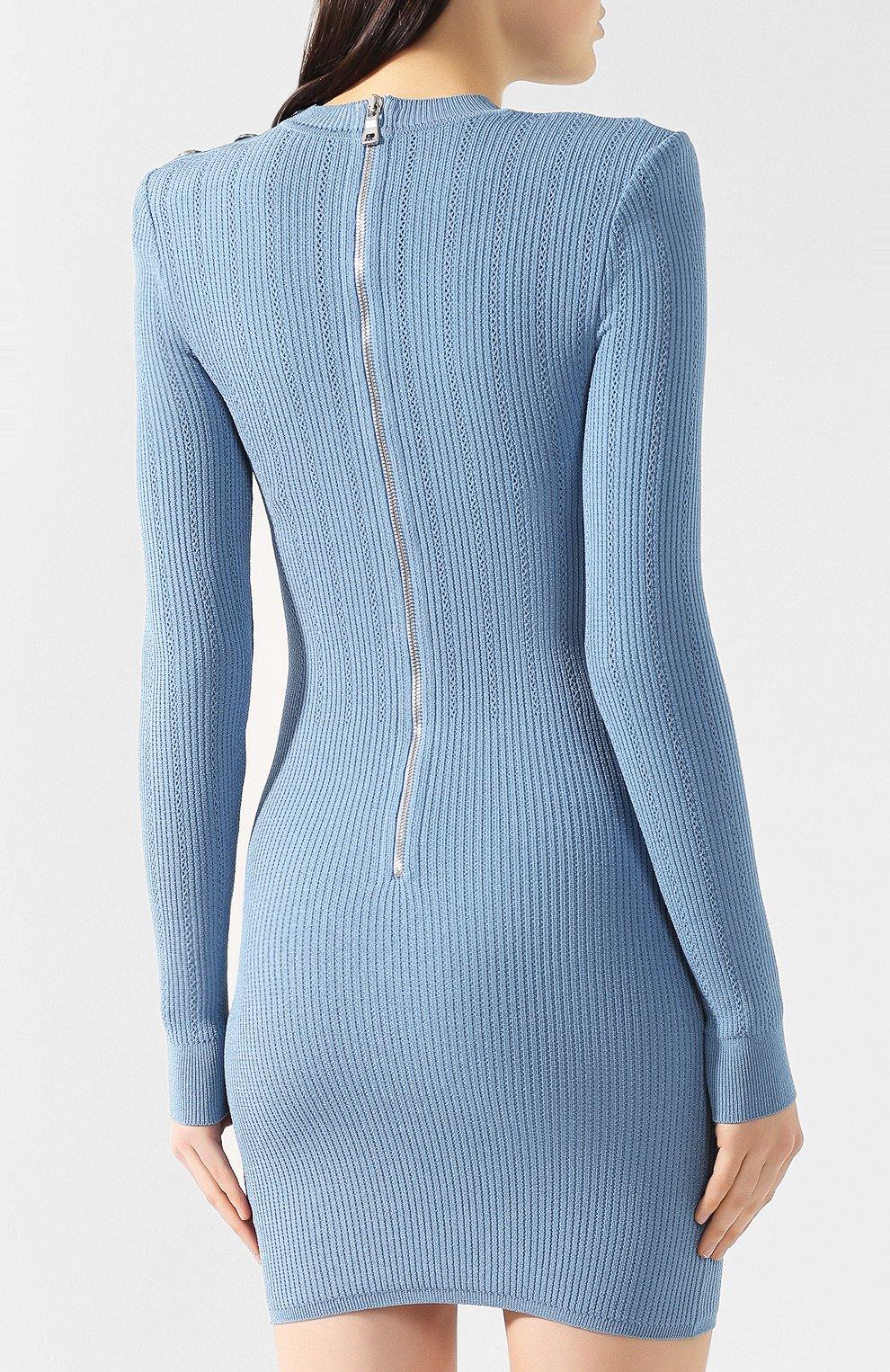 Платье из вискозы Balmain голубое | Фото №4