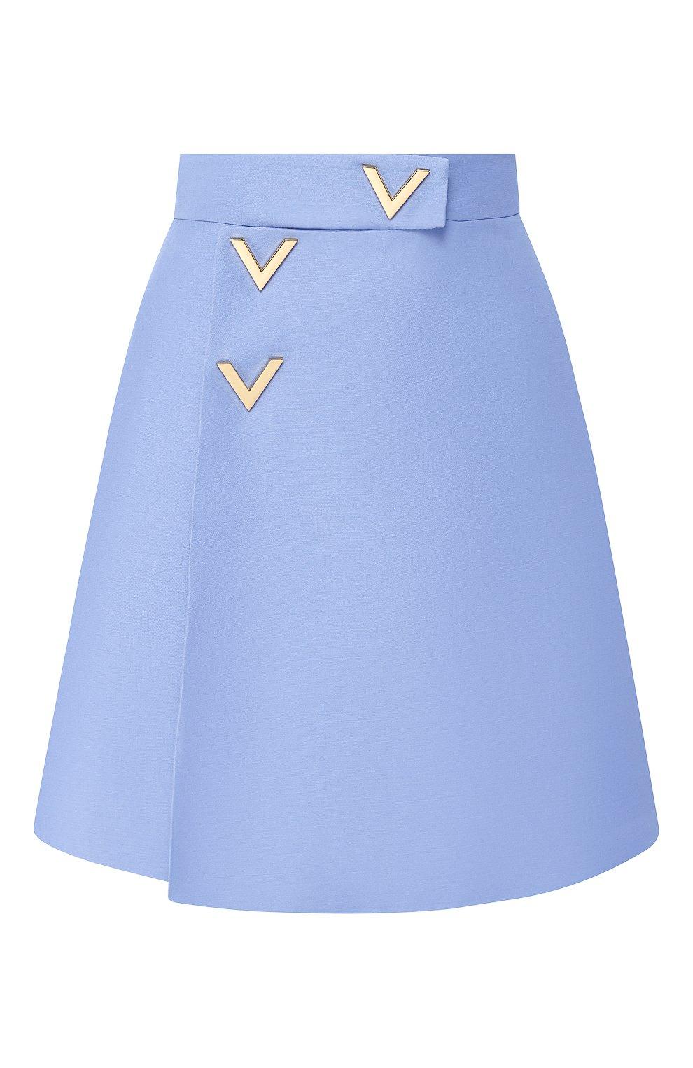 Юбка из смеси шерсти и шелка Valentino голубая | Фото №1