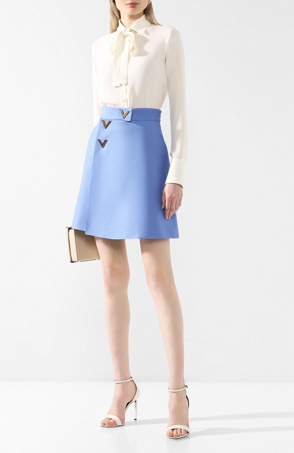 Юбка из смеси шерсти и шелка Valentino голубая | Фото №2