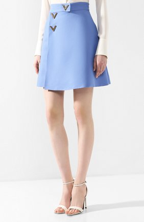 Юбка из смеси шерсти и шелка Valentino голубая | Фото №3