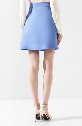 Юбка из смеси шерсти и шелка Valentino голубая | Фото №4