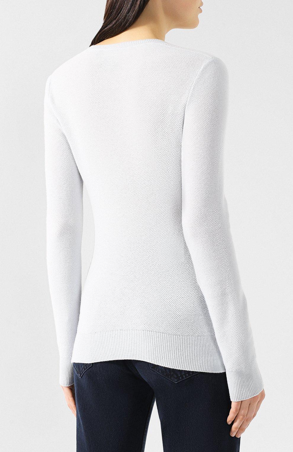 Кашемировый пуловер Loro Piana голубой | Фото №4