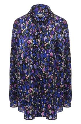 Шелковая блузка Balenciaga синяя | Фото №1