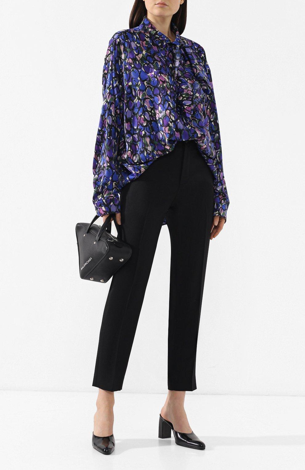 Шелковая блузка Balenciaga синяя | Фото №2