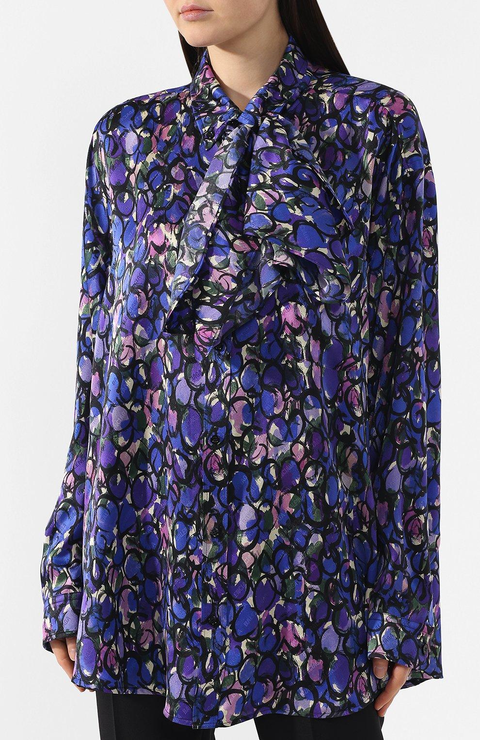 Шелковая блузка Balenciaga синяя | Фото №3