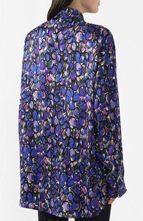 Шелковая блузка Balenciaga синяя | Фото №4