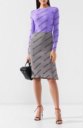 Пуловер с логотипом бренда Balenciaga сиреневый   Фото №2