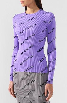 Пуловер с логотипом бренда Balenciaga сиреневый   Фото №3