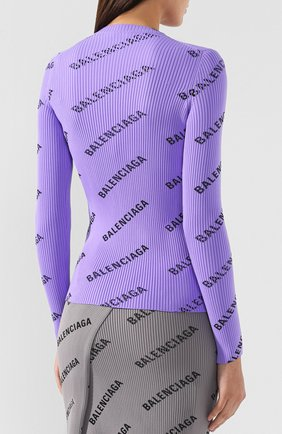 Пуловер с логотипом бренда Balenciaga сиреневый   Фото №4