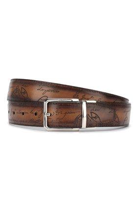 Мужской кожаный ремень BERLUTI светло-коричневого цвета, арт. C0028-002 | Фото 1
