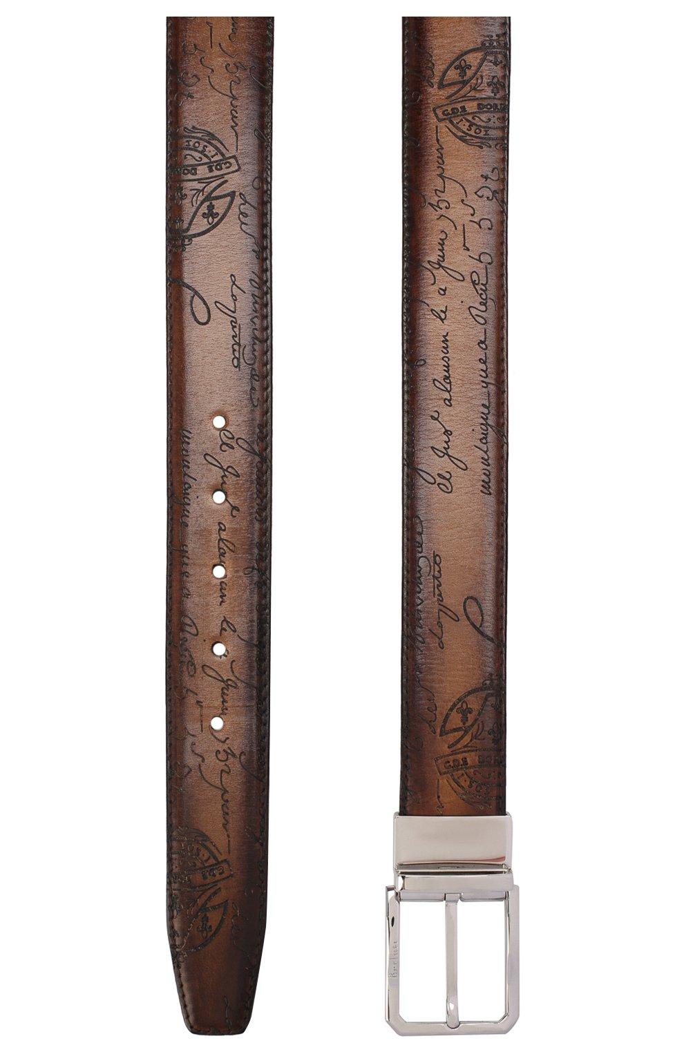 Мужской кожаный ремень BERLUTI светло-коричневого цвета, арт. C0028-002   Фото 2
