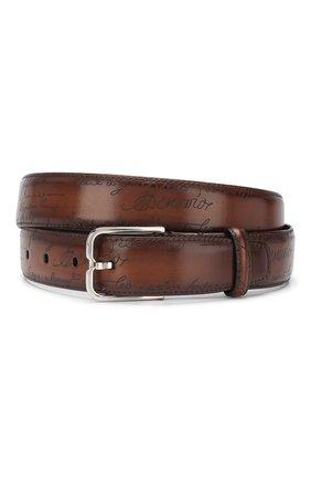 Мужской кожаный ремень  BERLUTI коричневого цвета, арт. C0052-012 | Фото 1