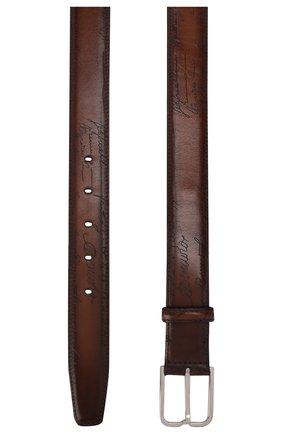 Мужской кожаный ремень  BERLUTI коричневого цвета, арт. C0052-012 | Фото 2