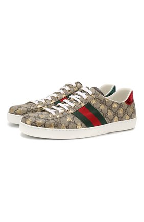 Мужские текстильные кеды new ace GUCCI бежевого цвета, арт. 548950/9N020 | Фото 1