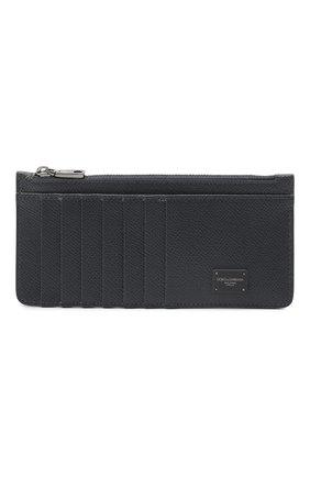 Мужской кожаный футляр для кредитных карт DOLCE & GABBANA темно-серого цвета, арт. BP2172/AZ602 | Фото 1