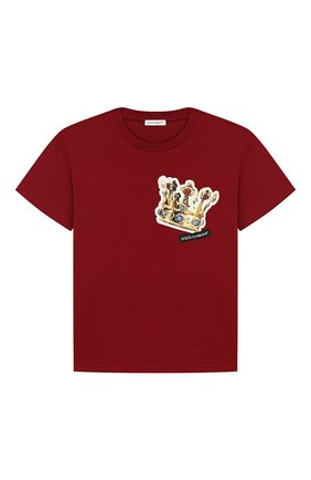 Детская хлопковая футболка DOLCE & GABBANA бордового цвета, арт. L4JT7N/G7REY/2-6 | Фото 1