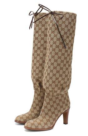 Женские текстильные сапоги lisa GUCCI бежевого цвета, арт. 551149/KY9V0 | Фото 1