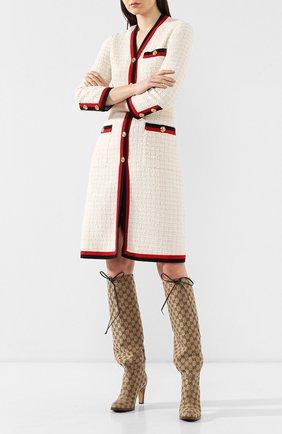 Женские текстильные сапоги lisa GUCCI бежевого цвета, арт. 551149/KY9V0 | Фото 2