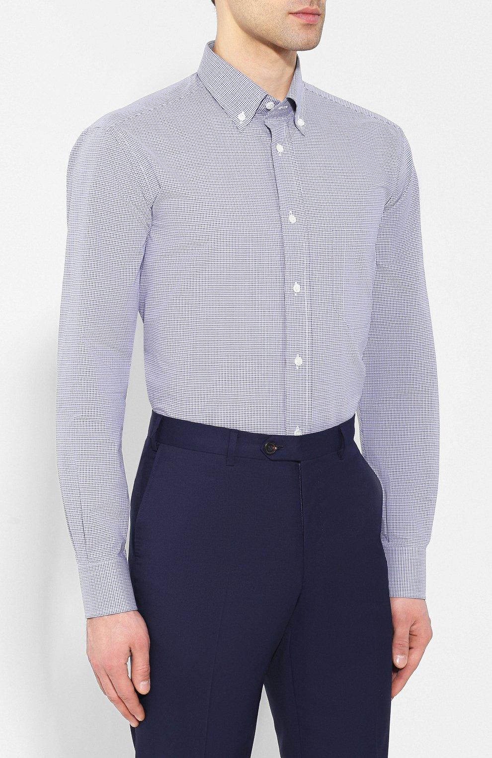 Мужская хлопковая рубашка BRIONI голубого цвета, арт. SCAA0M/P8029   Фото 3