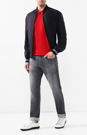 Мужское хлопковое поло BRIONI красного цвета, арт. UJ9S0L/P8621 | Фото 2