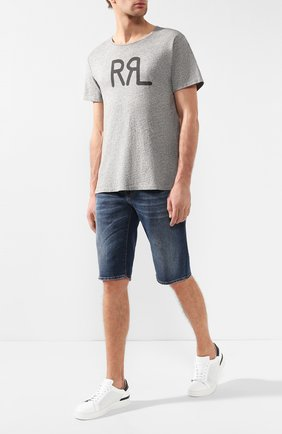 Мужская хлопковая футболка  RRL серого цвета, арт. 782658264/004 | Фото 2