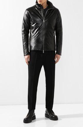 Мужская кожаная куртка GIORGIO BRATO черного цвета, арт. GU19S9026KG0FEAR   Фото 2 (Материал утеплителя: Пух и перо; Длина (верхняя одежда): Короткие; Мужское Кросс-КТ: Куртка-верхняя одежда, Кожа и замша, Верхняя одежда; Рукава: Длинные; Материал подклада: Синтетический материал; Статус проверки: Проверено; Кросс-КТ: Куртка)