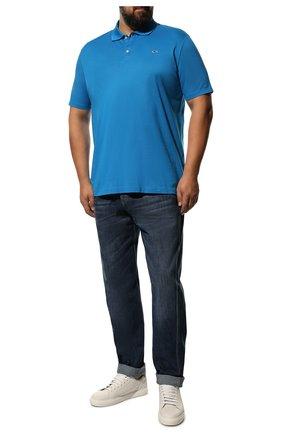 Мужское хлопковое поло PAUL&SHARK голубого цвета, арт. C0P1013/C00 | Фото 2