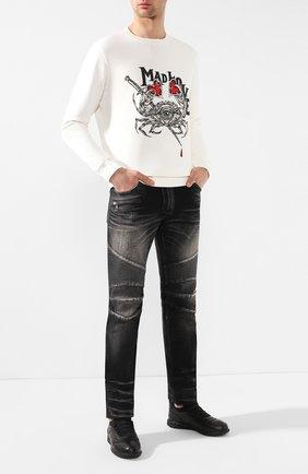 Мужские джинсы прямого кроя BALMAIN черного цвета, арт. RH15258/D008 | Фото 2