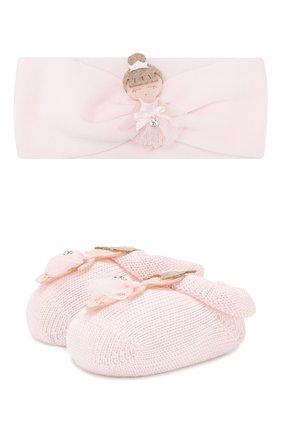 Детские комплект из пинеток и повязки на голову LA PERLA розового цвета, арт. 48538 | Фото 1