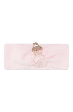 Детские комплект из пинеток и повязки на голову LA PERLA розового цвета, арт. 48538 | Фото 2